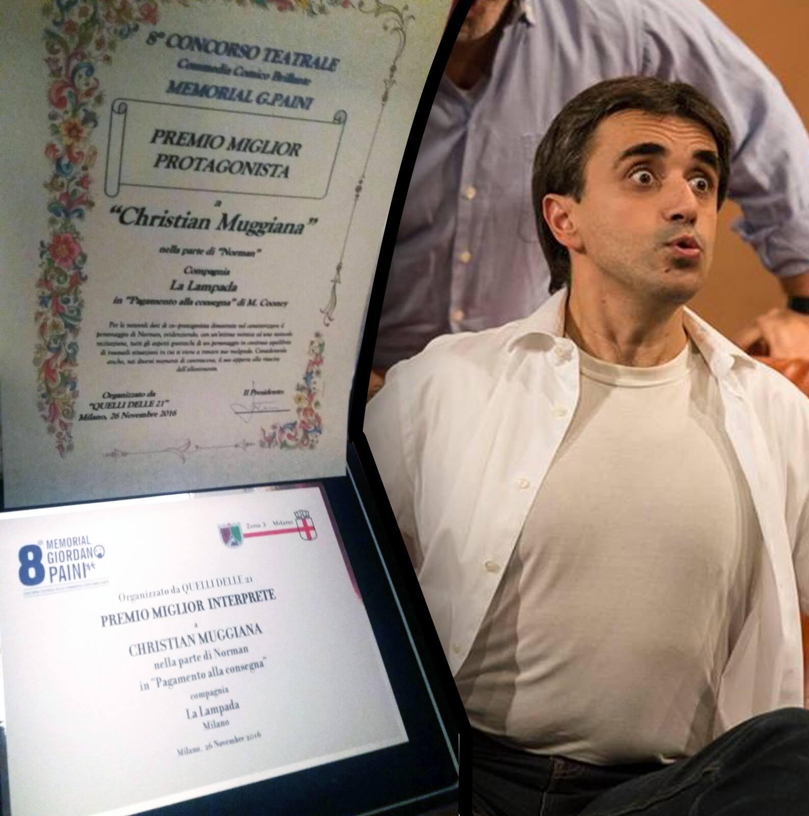 """MIGLIOR ATTORE al concorso """"Memorial Giordano Paini"""""""